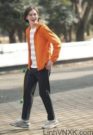 Áo khoác gió nam xuất khẩu nhật 1 lớp dư xịn màu cam