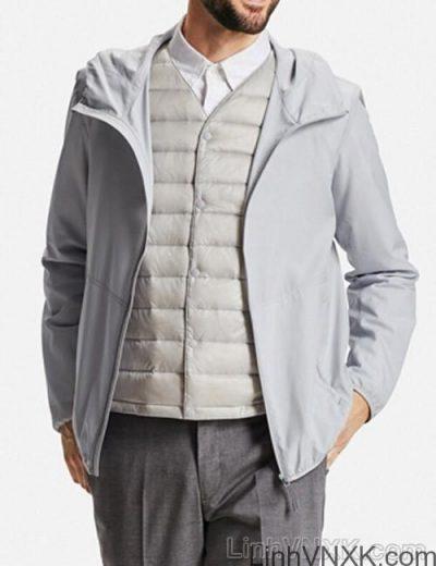 Áo khoác gió nam xuất khẩu nhật 1 lớp dư xịn màu ghi sáng