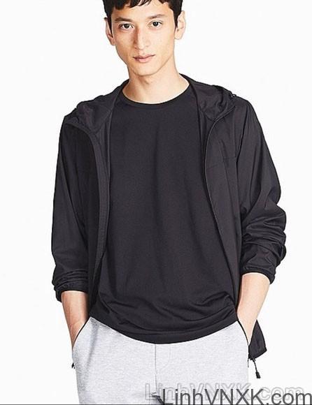 Áo khoác gió nam xuất khẩu nhật 1 lớp dư xịn màu đen
