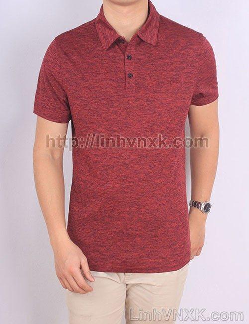Áo phông có cổ nam xuất khẩu alfani đỏ mận