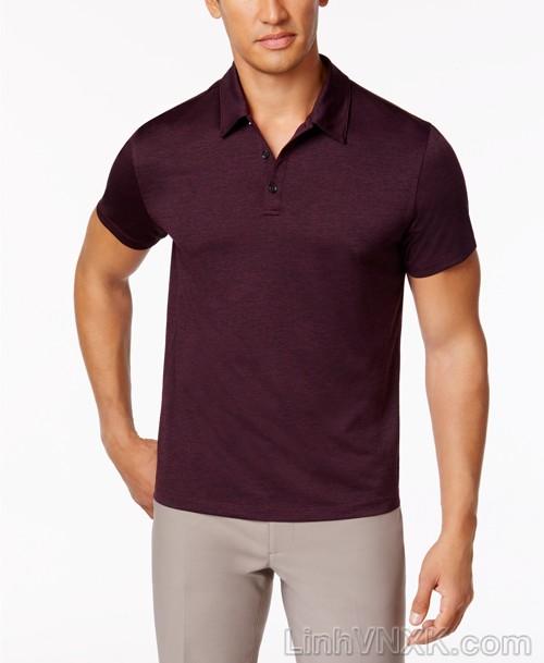 Áo phông có cổ nam xuất khẩu alfani đỏ mận đậm