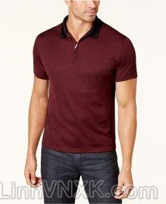 Áo phông có cổ nam xuất khẩu alfani đỏ mận khóa cổ