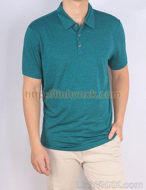 Áo phông có cổ nam xuất khẩu alfani màu xanh lá cây