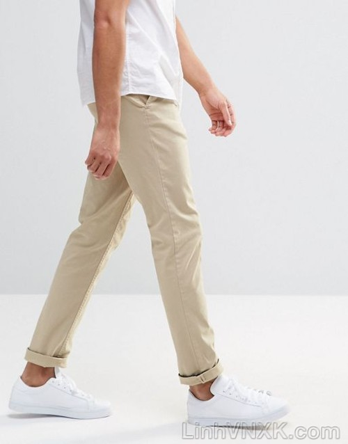 quần kaki nam celio skinny màu be