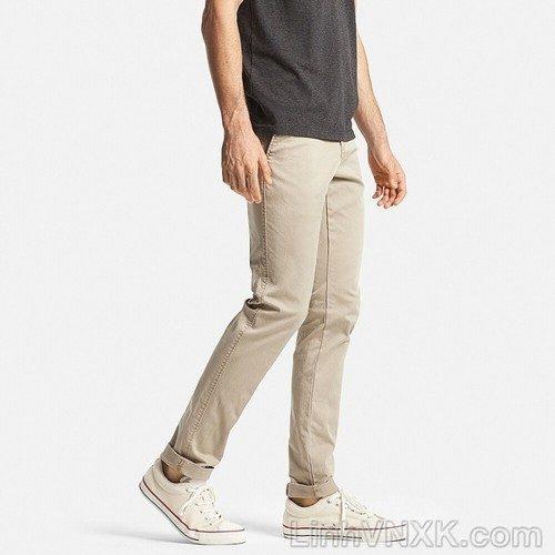 Quần kaki nam uniqlo skinny ultra stretch màu be