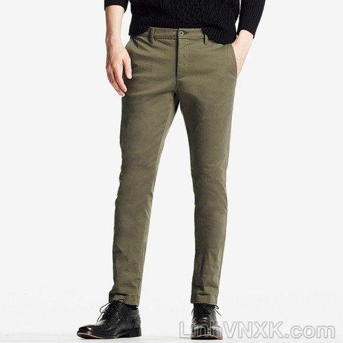 Quần kaki nam uniqlo skinny ultra stretch màu xanh rêu
