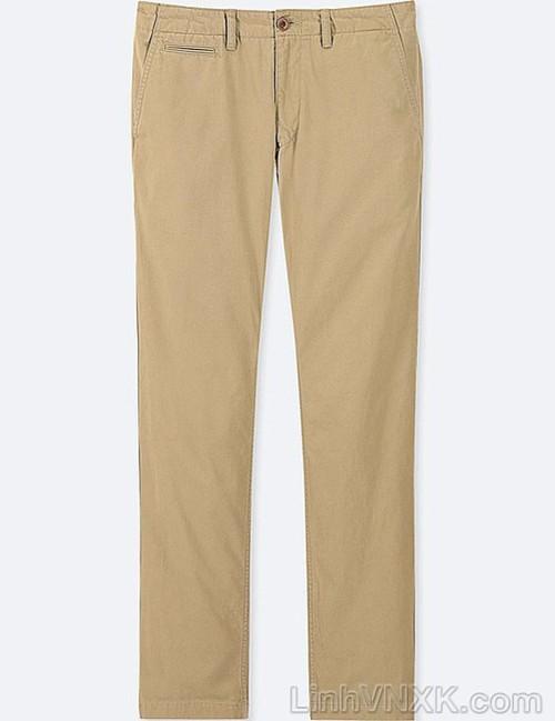 Quần kaki nam xuất khẩu Uni vintage regular fit màu kem
