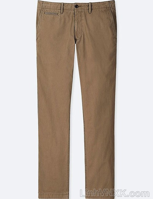 Quần kaki nam xuất khẩu Uni vintage regular fit màu nâu
