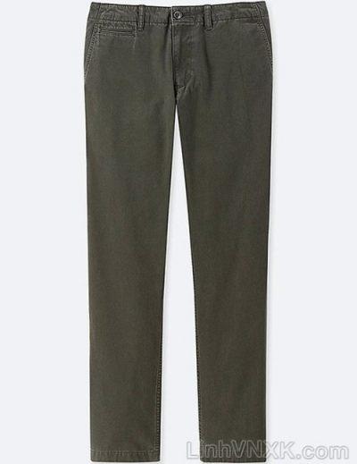 Quần kaki nam xuất khẩu Uni vintage regular fit màu rêu