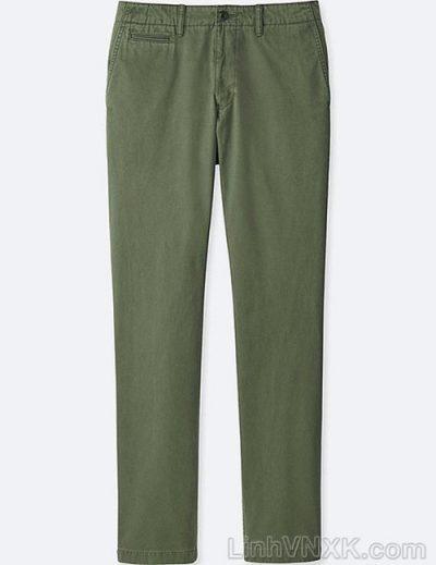 Quần kaki nam xuất khẩu Uni vintage regular fit màu rêu nhạt