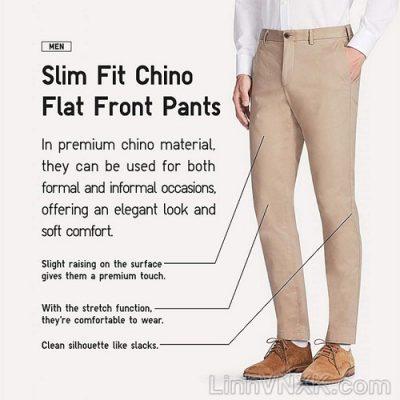 Quần kaki nam xuất khẩu Uni slimfit màu be