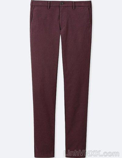 Quần kaki nam xuất khẩu Uni slimfit màu đỏ mận