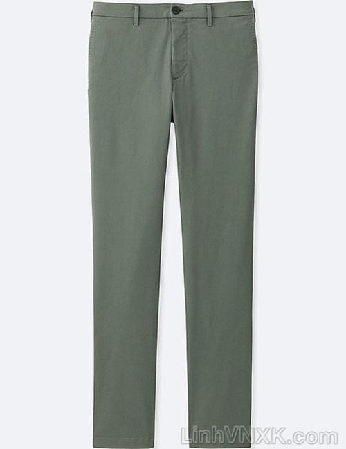 Quần kaki nam xuất khẩu Uni slimfit màu xanh rêu nhạt