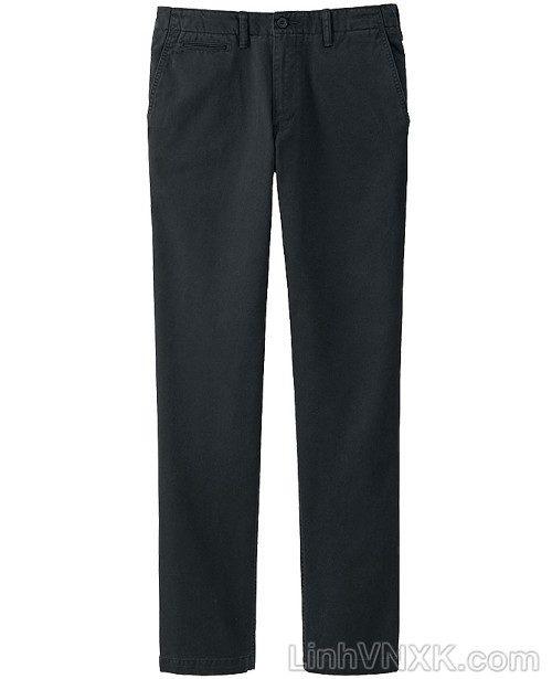 Quần kaki nam xuất khẩu Uni vintage regular fit màu đen