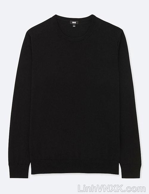 Áo len nam cổ tròn Uniqlo chất liệu merino màu đen