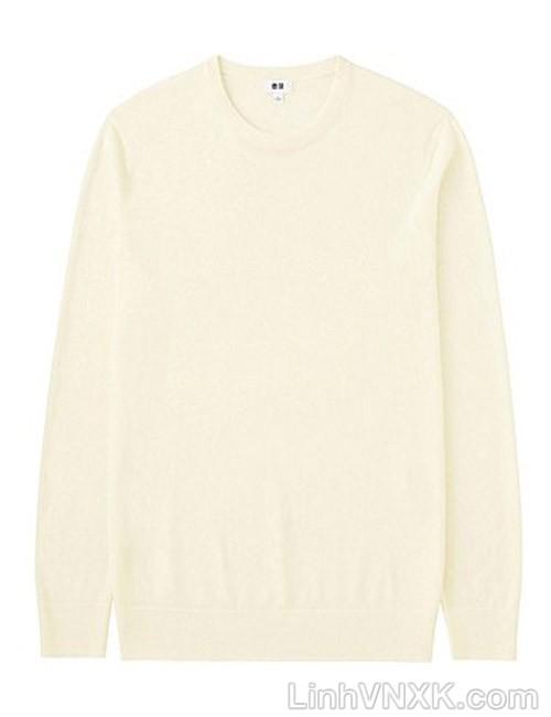Áo len nam cổ tròn Uniqlo chất liệu merino màu trắng