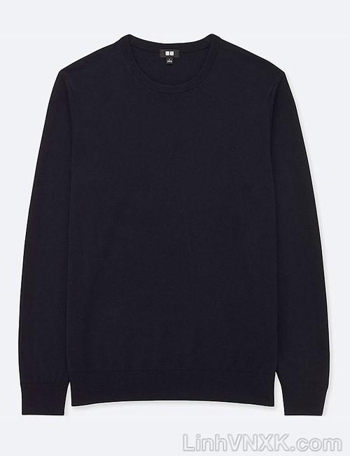 Áo len nam cổ tròn Uniqlo chất liệu merino màu navy
