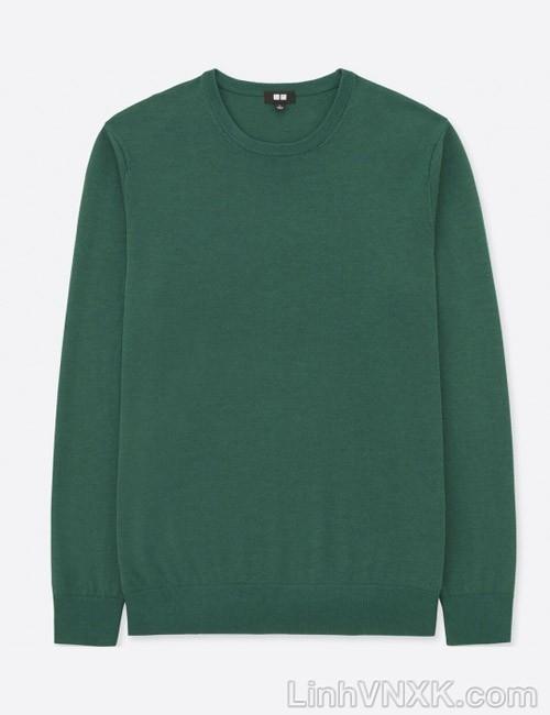 Áo len nam cổ tròn Uniqlo chất liệu merino màu rêu nhạt