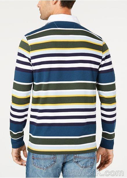 Áo polo nam dài tay xuất khẩu clubroom kẻ ngang nhiều màu