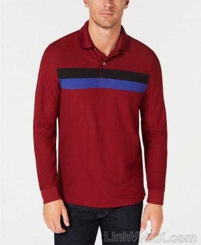 Áo polo nam thể thao dài tay xuất khẩu clubroom đỏ mận kẻ ngang xanh đen