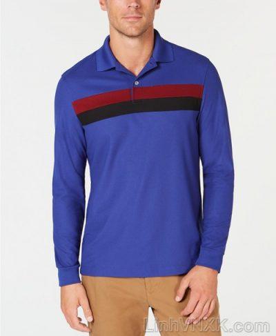 Áo polo nam thể thao dài tay xuất khẩu clubroom xanh blue kẻ ngang