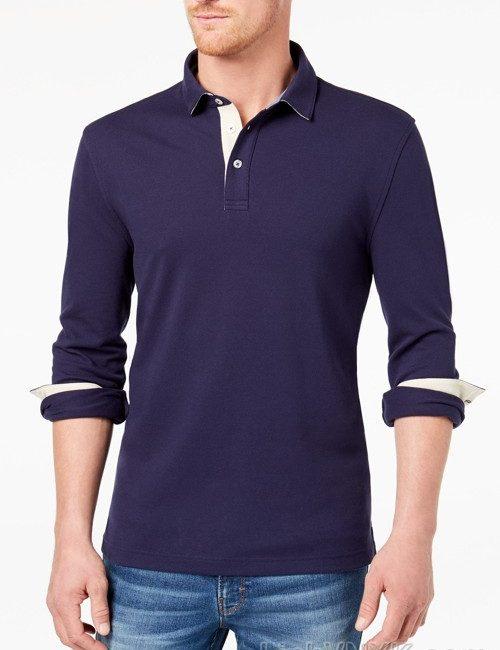 Áo polo nam dài tay xuất khẩu clubroom màu xanh navy