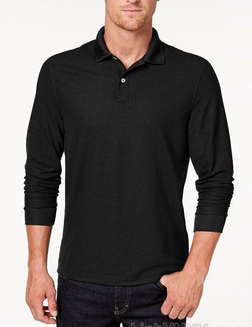 Áo polo nam dài tay xuất khẩu clubroom màu đen