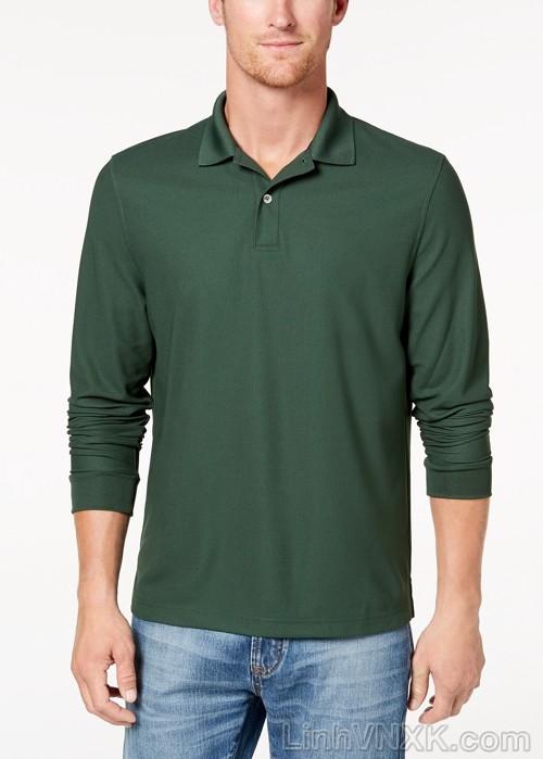 Áo polo nam dài tay xuất khẩu clubroom màu xanh rêu