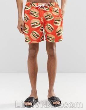 Quần bơi nam asos màu cam hambeger