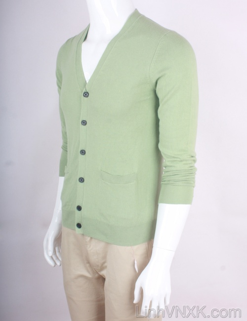 Áo cardiga nam len Uniqlo màu xanh cốm