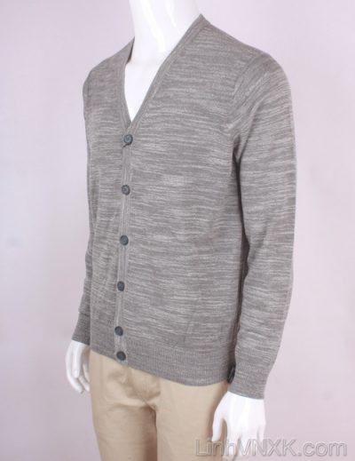 Áo cardiga nam len Uniqlo màu ghi xước