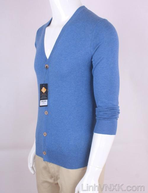 Áo cardiga nam len Uniqlo màu xanh dương