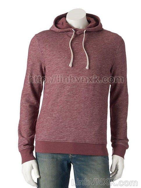 Áo hoodie nỉ nam xuất khẩu màu đỏ mận