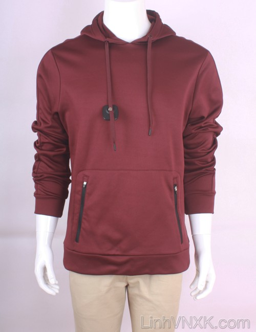 Áo hoodie nỉ asics xuất khẩu màu đỏ mận