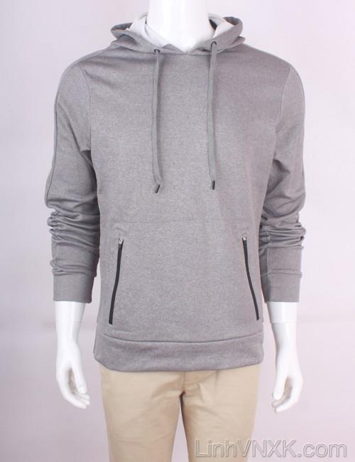 Áo hoodie nỉ asics xuất khẩu màu ghi
