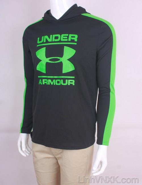 Áo hoodie thể thao nam xuất khẩu Under Armour màu đen pha xanh lá cây