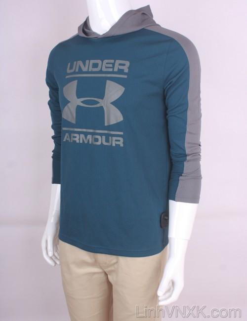 Áo hoodie thể thao nam xuất khẩu Under Armour màu xanh cổ vịt