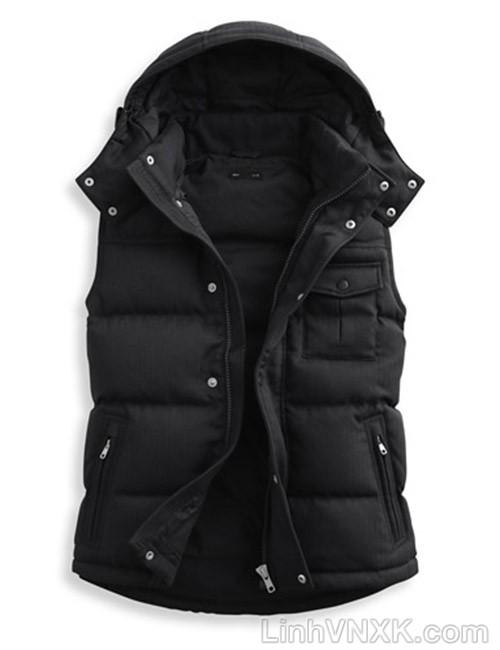 Áo khoác gile nam lông vũ xuất khẩu Lativ màu đen