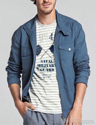 Áo khoác kaki nam xuất khẩu Hering màu xanh chambray