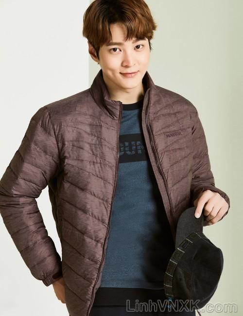 Áo khoác lông vũ nam xuất khẩu Mountain màu đỏ mận