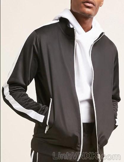 Áo khoác nỉ nam xuất khẩu màu đen sọc trắng