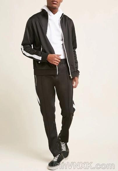 Áo khoác nỉ nam F21 màu đen sọc trắng