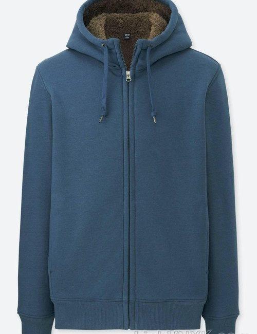 Áo khoác nỉ nam lót lông uniqlo màu xanh sáng