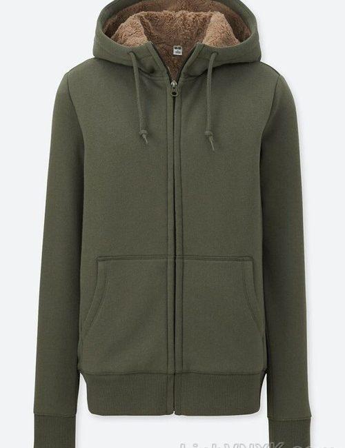 Áo khoác nỉ nam lót lông uniqlo màu xanh rêu