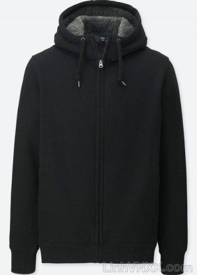 Áo khoác nỉ nam lót lông uniqlo màu đen
