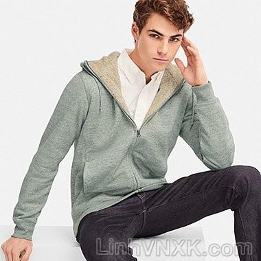 Áo khoác nỉ nam lót lông uniqlo màu ghi sáng