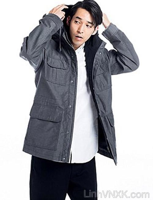 Áo khoác kaki nam Uniqlo xuất khẩu xịn màu ghi