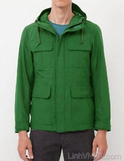 Áo khoác kaki nam Uniqlo xuất khẩu xịn màu xanh lá cây