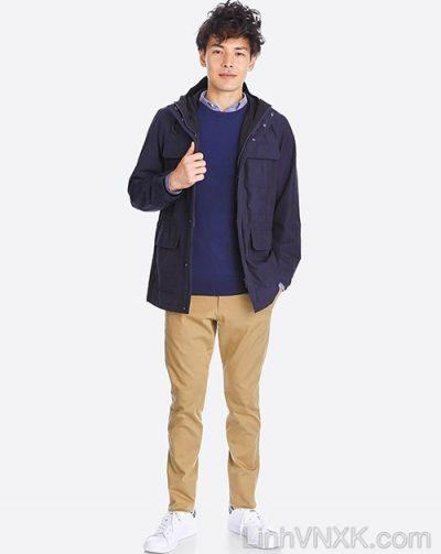 Áo khoác kaki nam Uniqlo xuất khẩu xịn màu xanh navy