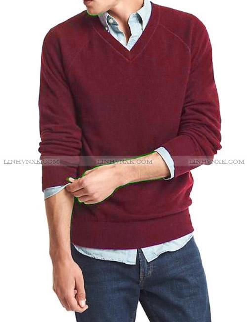 Áo len nam cổ tim xuất khẩu màu đỏ mận